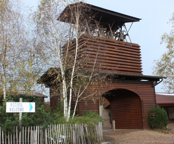The entrance to the Taizé Community is marked by a bell tower. (Bob Sessions photo)