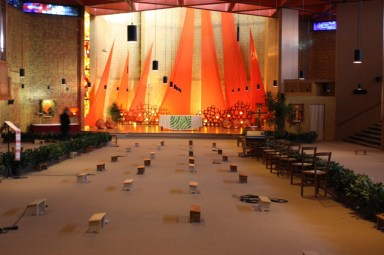 The interior of the Taizé church is spare and simple. (Bob Sessions photo)
