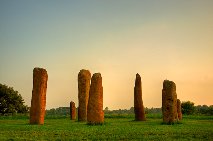 The sacred stone circle at Harvest Preserve includes 12 pillars quarried with stone chisels at least 4,000 years ago. (photo by Harvest Preserve)