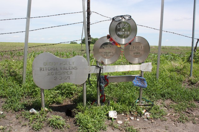 A farmer's field near Clear Lake, Iowa, is the site of a memorial marking the place where Buddy Holly, Ritchie Valens, and J.P. Richardson died on February 3, 1959. (Bob Sessions photo)