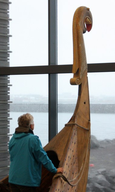 Looking out to sea from the bow of a Viking longship at Viking World in Reykjanesbær, Iceland (Bob Sessions photo)