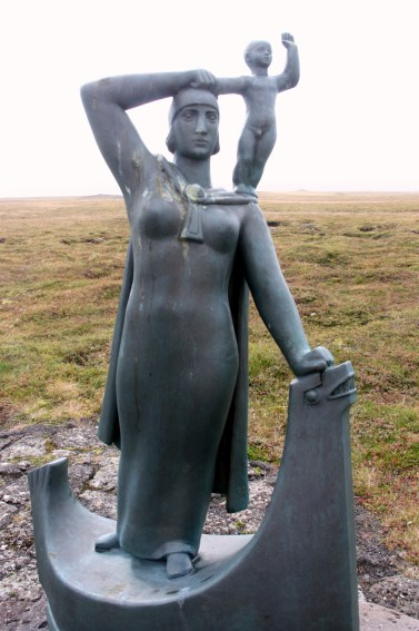 A statue of Gudrid and her son Snorri stands near the farm where she was born in the latter part of the 900s. (photo by Bob Sessions)