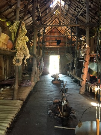 The interior of the Ganondagan long house is decorated in traditional ways. (photo by Bob Sessions)