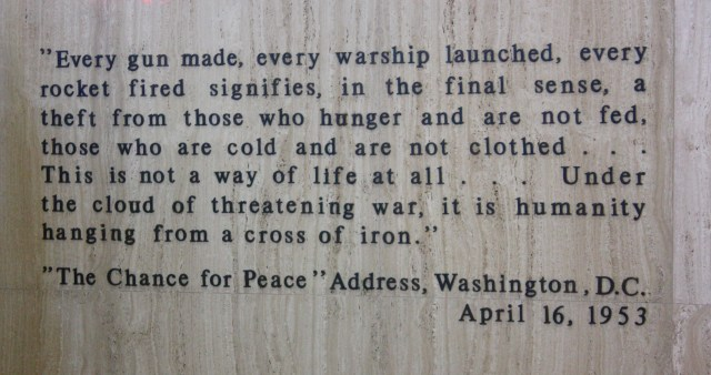 This quote is placed above the final resting place of Dwight Eisenhower. (photo by Bob Sessions)