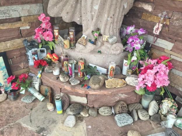 Offerings left at healing shrine