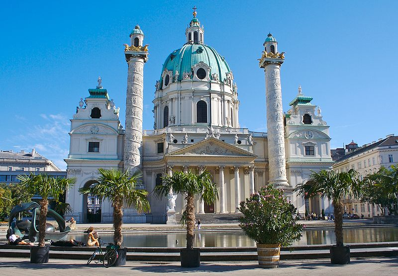 Karlskirche is one of the most splendid churches in Vienna. (Wikimedia Commons image)