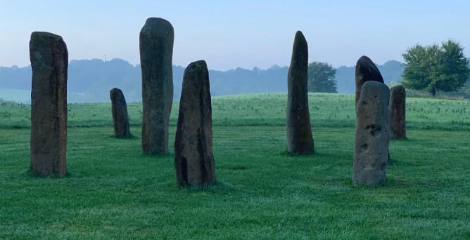 Standing Stones in U.S., standing stones in fog, standing stones in mist, prehistoric circle, magical rocks