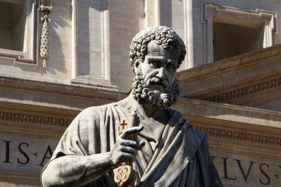 Statue of St. Peter holding the key to the church at St. Peter's Basilica at the Vatican