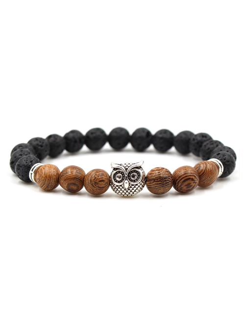 Boeddhistische zwarte lavasteen en hout uil armband