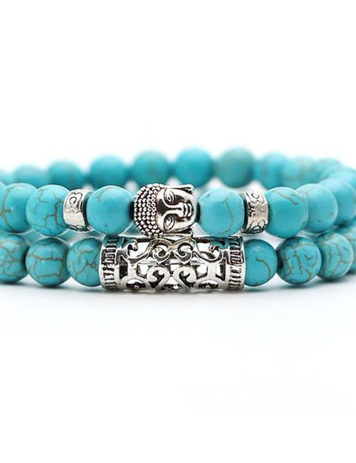 Set-van-twee-Boeddhistische-Turqueniet-armbanden