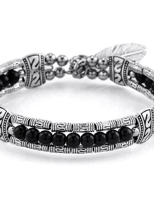 Tibetaans Bohemian Veer armband zwart