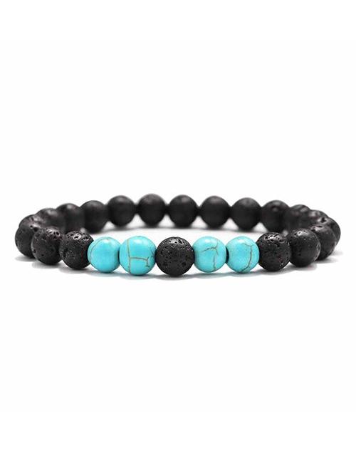 Lavasteen Blauwe Howliet Meditatie armband