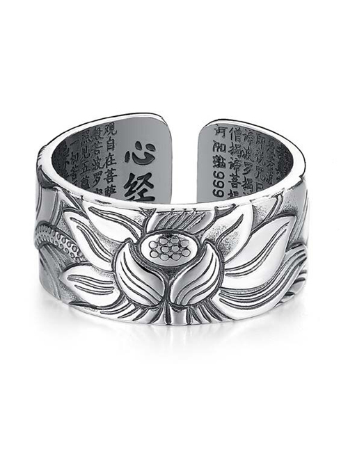 Lotus ring 999 puur Sterling zilver ring