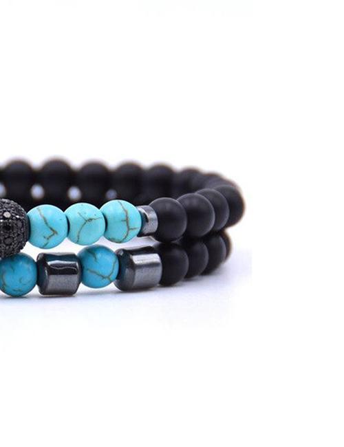 Dubbele Blauwe Howliet Hermatiet armband