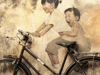 """Kids on Bicycle"", grafite de Ernest Zacharevic. George Town, Malásia."