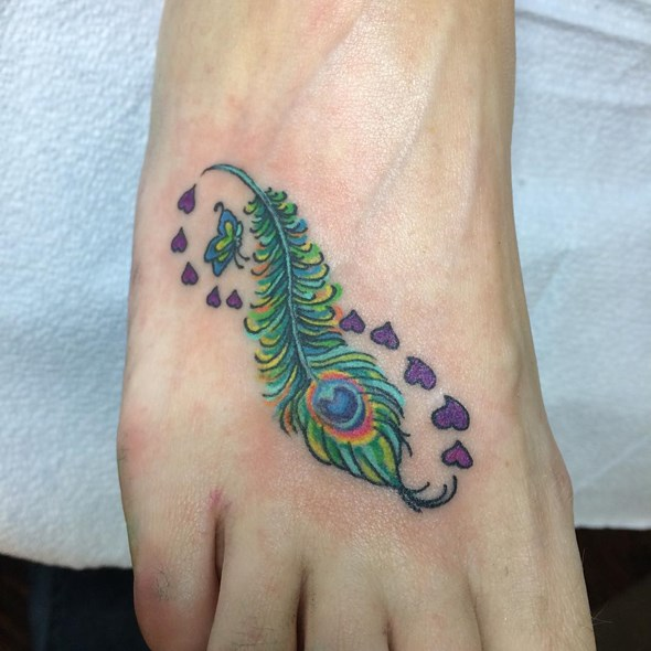 Peacock Feather Infinity Foot Tattoo