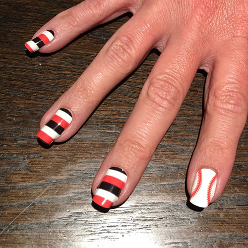 San Francisco Giants Baseball Sching Nail Art Design