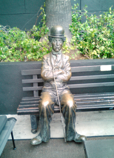 Charlie Chaplin in the parking lot