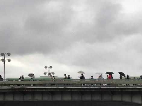 river walk with umbrellas