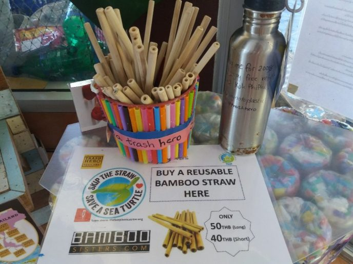 reusable bamboo straws or sale at conscious diving center on Phi Phi Islands
