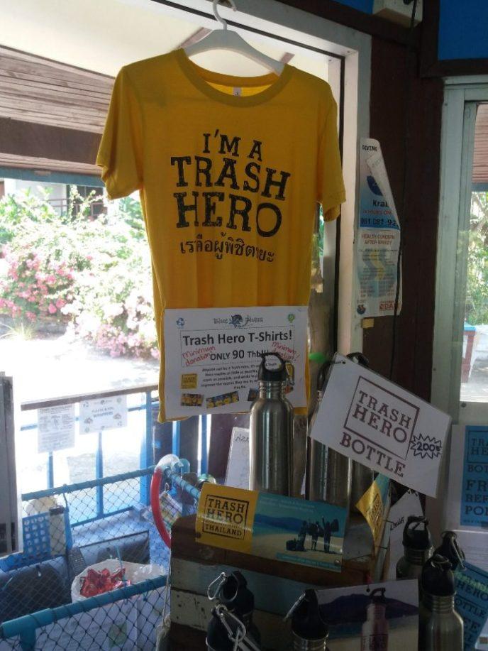 Trash Hero t-shirt in the duikwinkel bij Blue View Divers