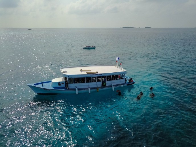 A big boat for comfortable scuba diving on the Maldives