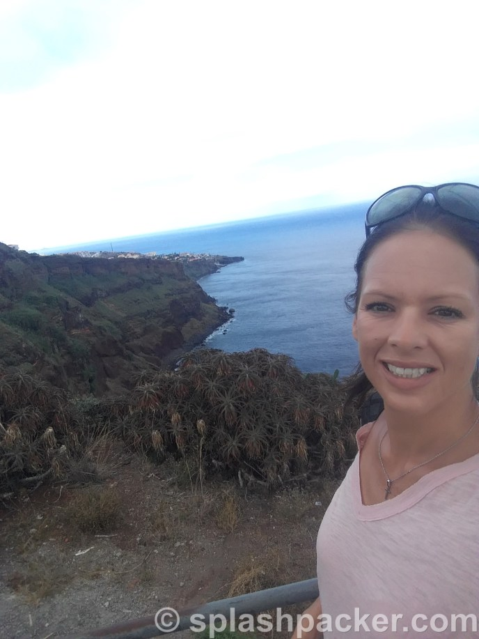 travel blog selfie at Ponta do Garajau viewpoint on Madeira Island