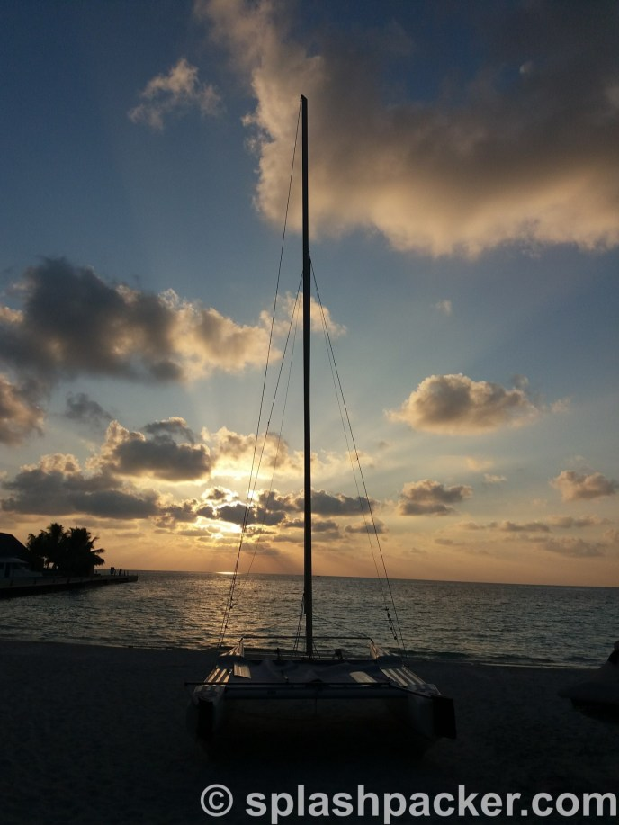 Sunset with catamaran in the Maldives