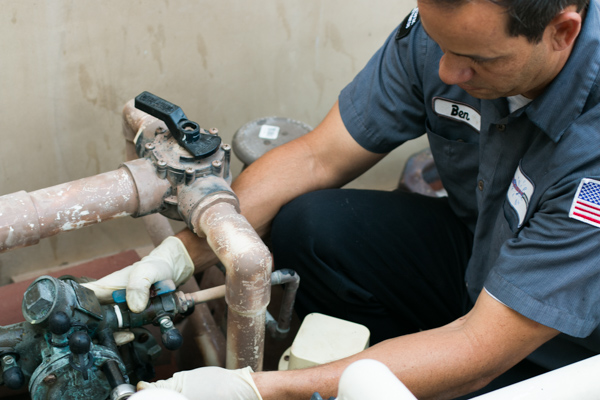 Back flow testing at orange county customer's home