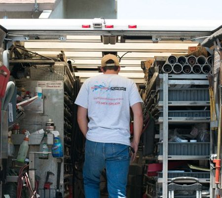 Plumbing contractor on a truck in Mission Viejo