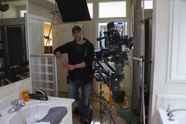 John Fallon on the set of The Shelter