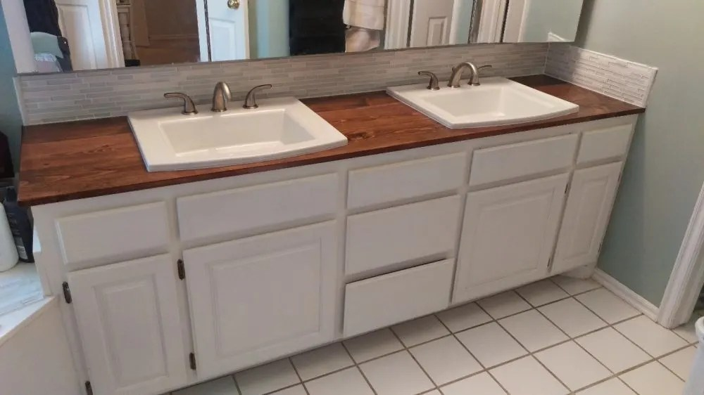 a wooden countertop for your bathroom