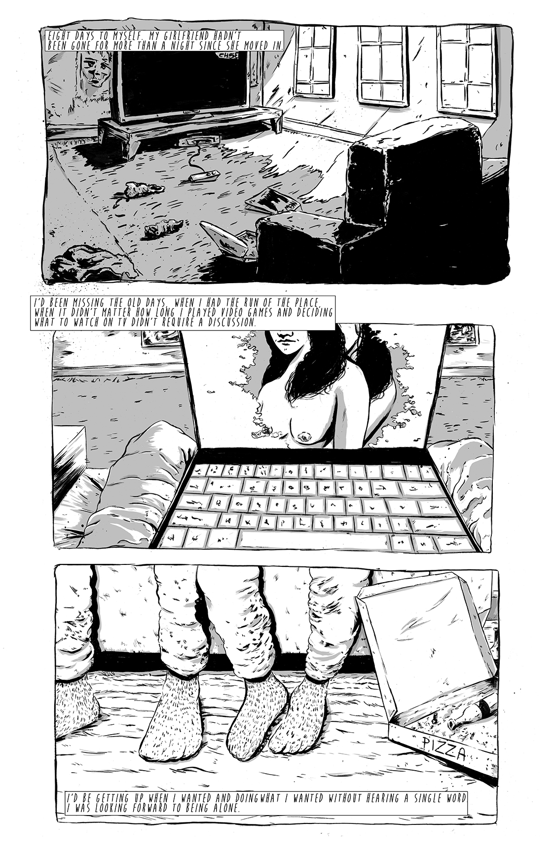 Eight Days Alone, page 3, by Sam Costello and Matthew Goik