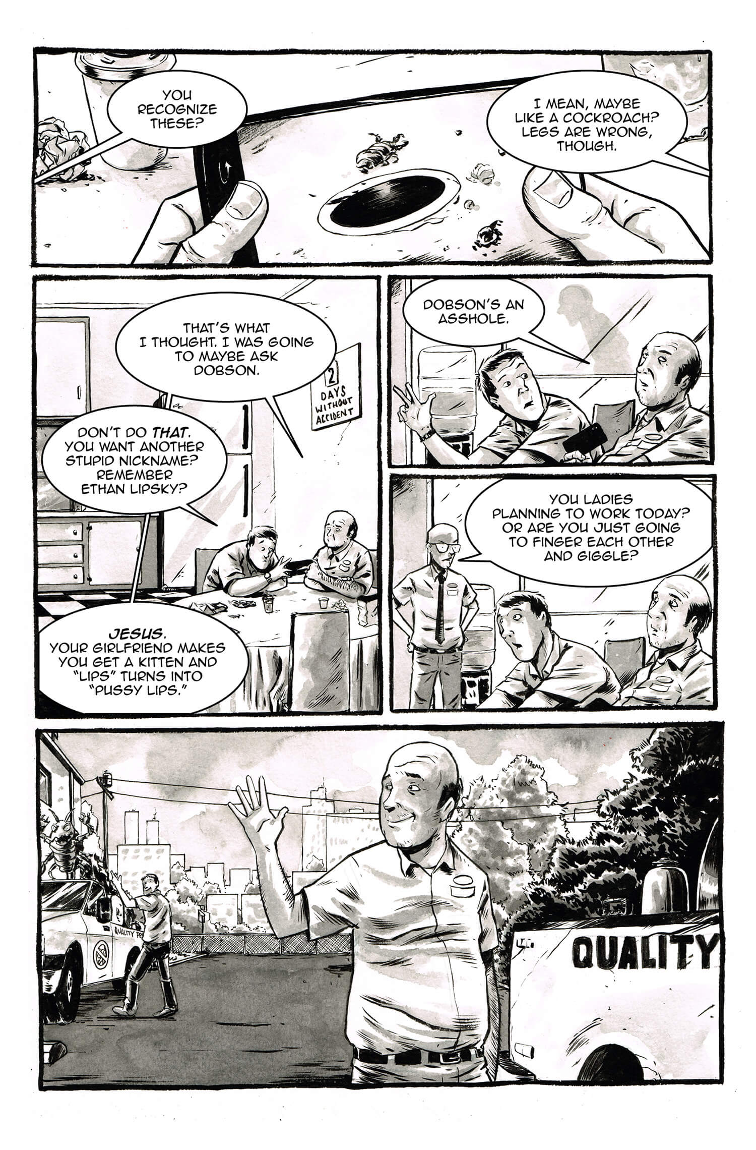 The Exterminator, page 4, by Sam Costello and Kelly Williams