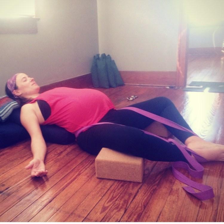 Prenatal Yoga: Supta Baddha Konasana | How to get comfy in restorative prenatal yoga poses | SpoiledYogi.com