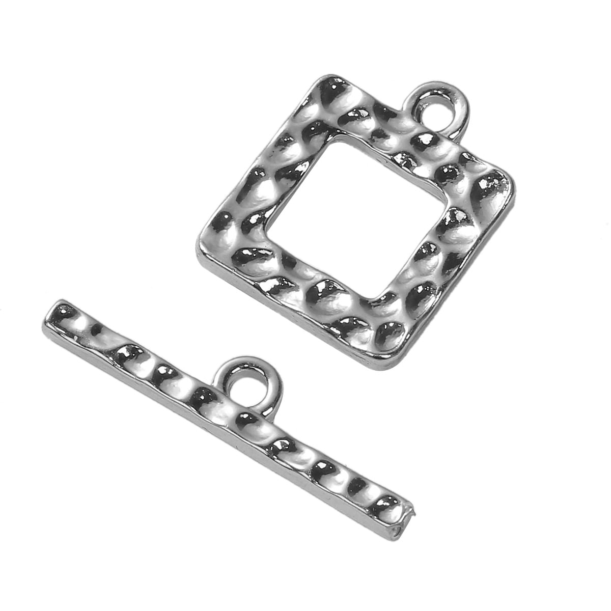 Silver Plated Hammered Square Toggle 16x15mm