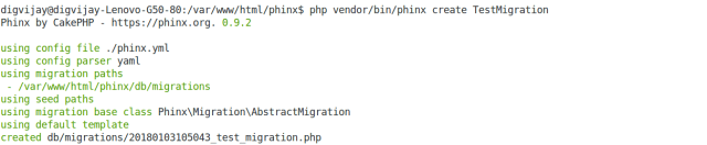 Create Phinx migration