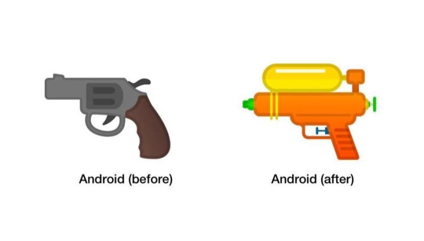 Google updated Gun emoji, turned Pistol to Water Gun