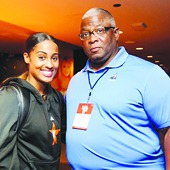 West All-Star Skylar Diggins, who scored 27 points, with Larry Fitzgerald  Photo courtesy of Bruce@yeungphotography.com