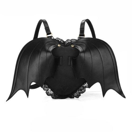 POMELO Bat Wings Black Lace Heart-shaped Backpack