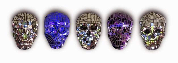 Skull mosaics by Kim Larson