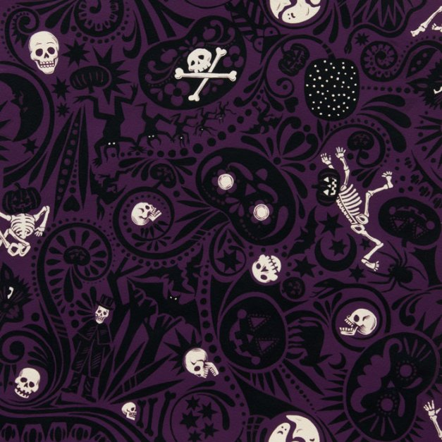Haunted house fabric by Alexander Henry. Via Halloween Holler.