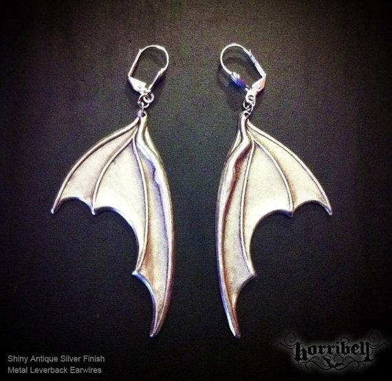 Silver Bat Wing Earrings