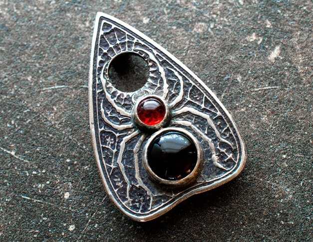 Personal fave--this spider planchette pendant from Argentum Arcana