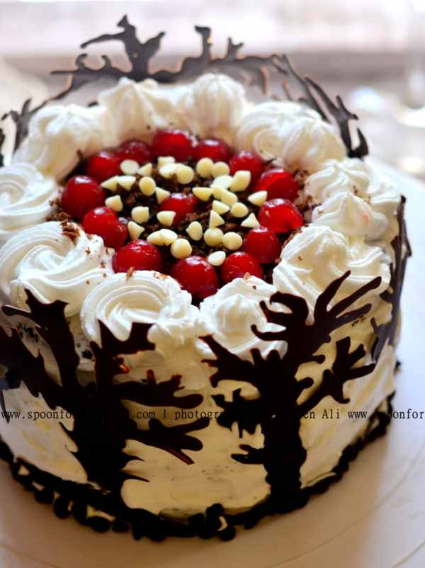 Black Forest Cake Happy Birth Day Mom Recipe Spoon Fork And Food