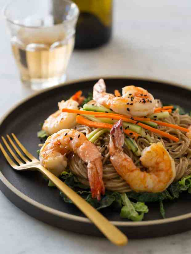 Almond Butter Soba Noodles with Garlic Shrimp recipe