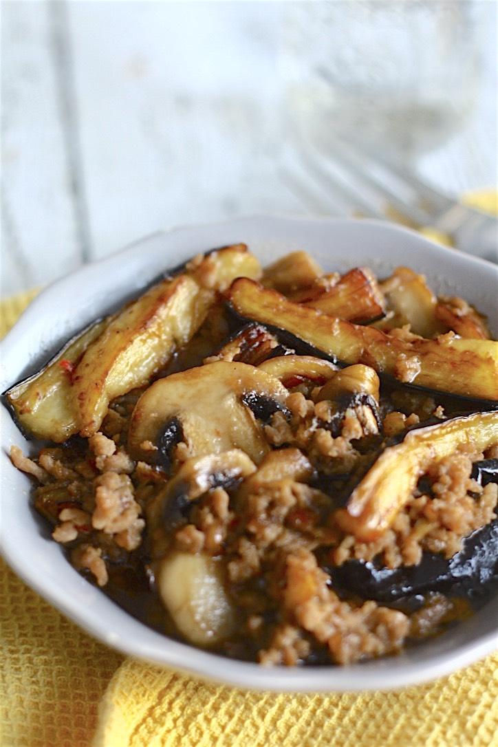 Braised Eggplant, Mushroom, and Pork