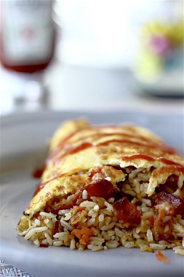 Bacon Omurice (Japanese Omelette Rice)