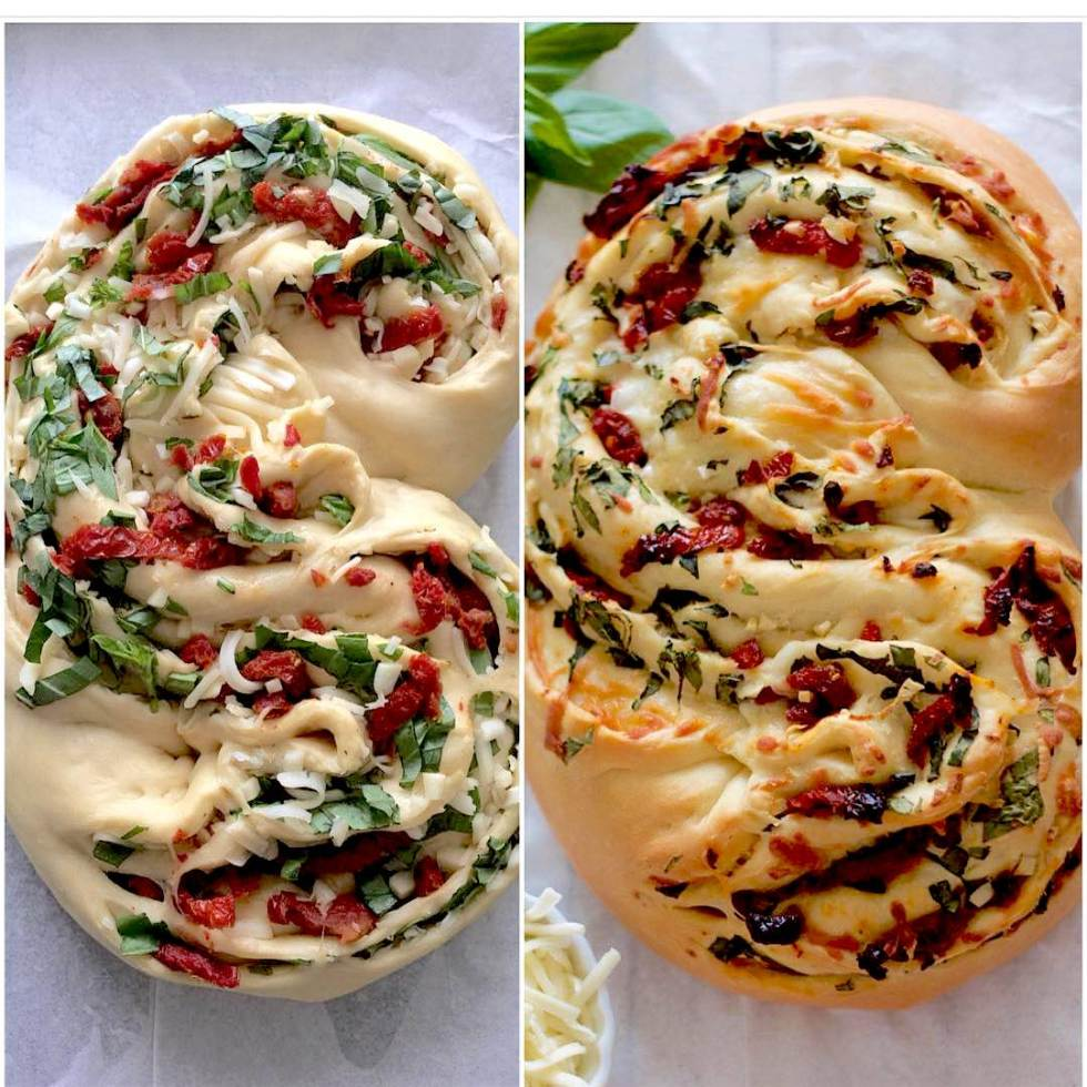 Step-by-step how to make Pane Bianco. This Italian bread is wonderfully soft and packed with flavor from the basil, garlic, sundried tomatoes, and a blend of Italian cheese. The smell of this bread while being baked will make you hungry!