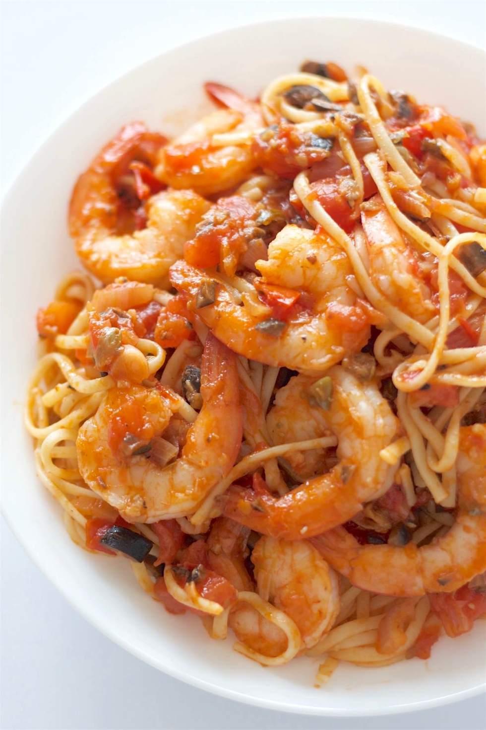 Shrimp Pasta Puttanesca | SpoonfulOfButter.com